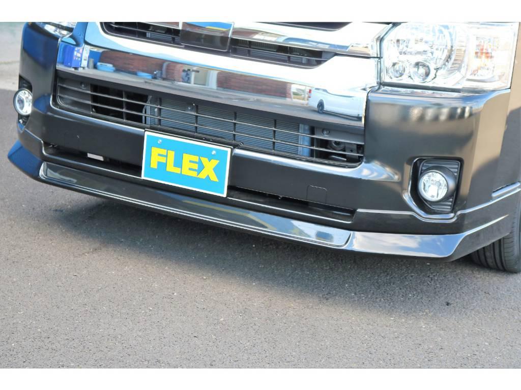 FLEXオリジナルDelfino Lineリップスポイラー装備♪ | トヨタ ハイエース 2.7 GL ロング ミドルルーフ 4WD TSS付