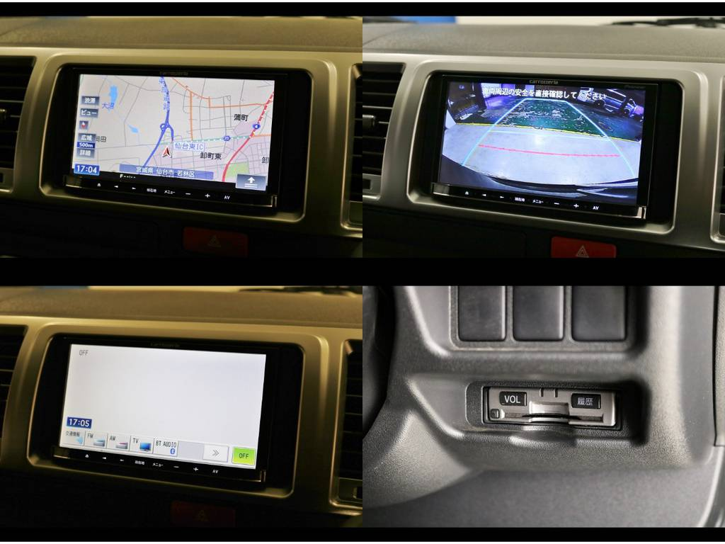 カロッツェリア地デジSDナビ&オプションバックカメラナビ出力加工&ビルトインETCも装備! | トヨタ ハイエースバン 3.0 スーパーGL ロング ディーゼルターボ 4WD 4型