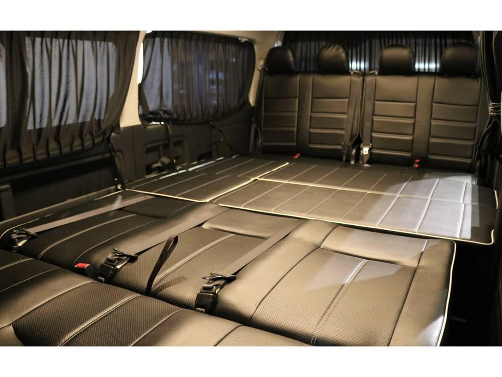 フルフラットアレンジ!リアにはカーテンも付いてます! | トヨタ ハイエース 2.7 GL ロング ミドルルーフ 4WD 内装アレンジ