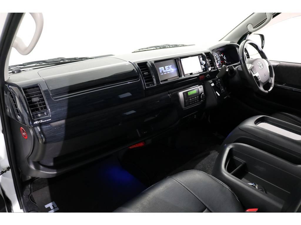 黒木目インテリアパネル&コンビステアリング&シフトノブ! | トヨタ ハイエース 2.7 GL ロング ミドルルーフ 4WD 内装アレンジ