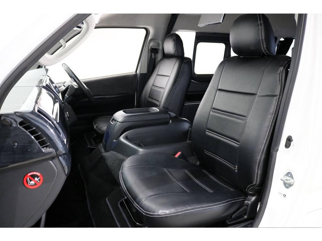 1列目と4列目はブラックレザー調シートカバー! | トヨタ ハイエース 2.7 GL ロング ミドルルーフ 4WD 内装アレンジ