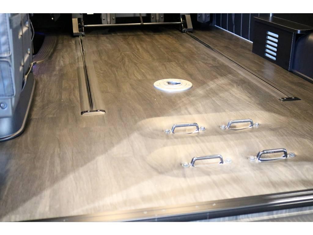 重歩行用フロアにロングスライドレール搭載! | トヨタ ハイエース 2.7 GL ロング ミドルルーフ 4WD 内装アレンジ