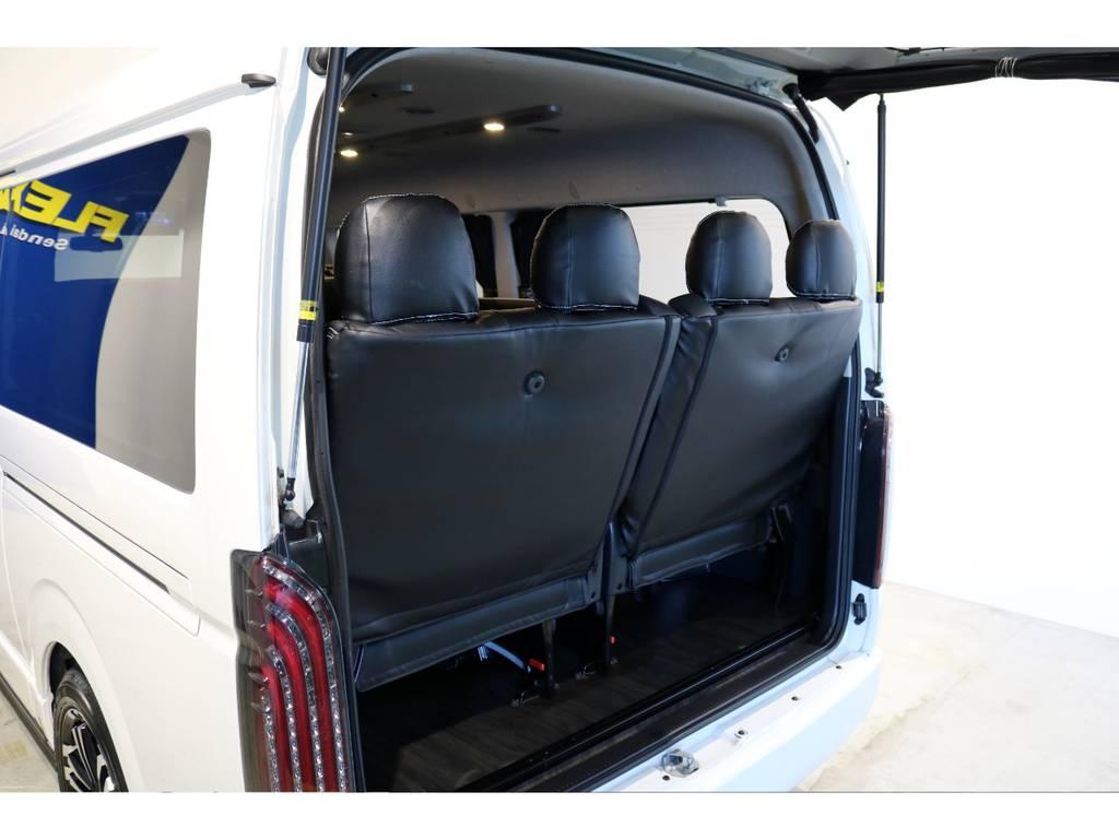最後列はリクライニング加工済みです! | トヨタ ハイエース 2.7 GL ロング ミドルルーフ 4WD 内装アレンジ