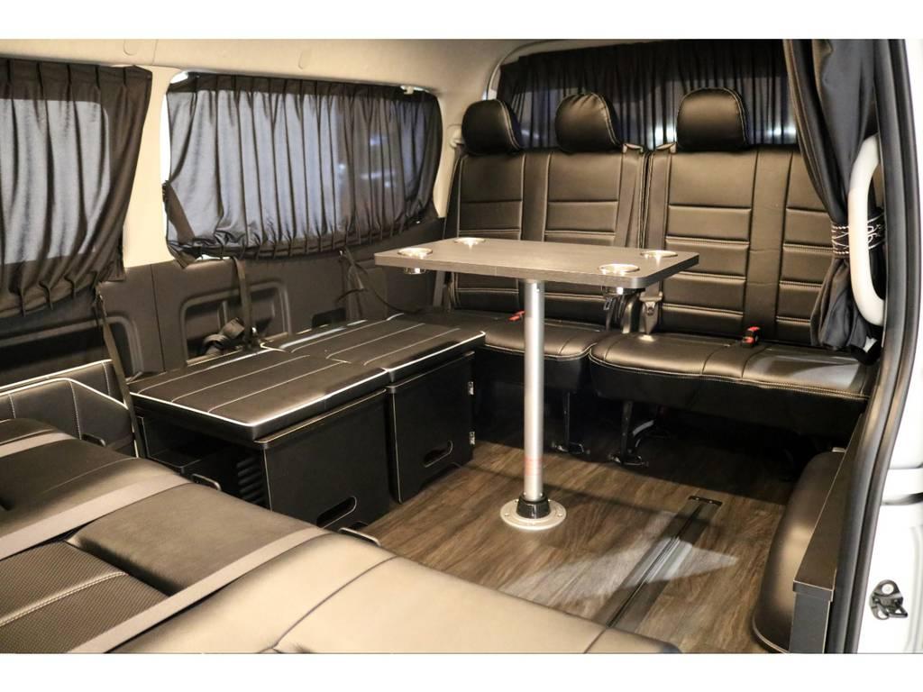 リビングアレンジでセンターテーブルを囲んでプチキャンパー仕様! | トヨタ ハイエース 2.7 GL ロング ミドルルーフ 4WD 内装アレンジ