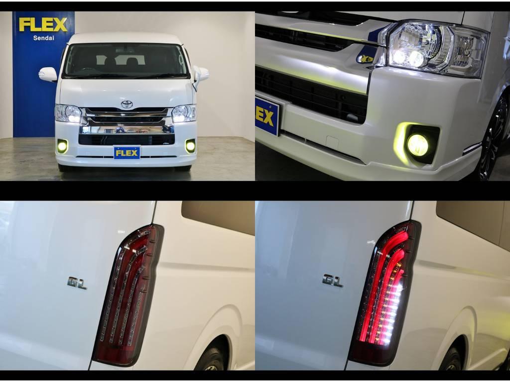 メーカーオプションのLEDヘッドランプ!LEDフォグバルブ(イエロー)!415COBRAライトセーバーLEDテールランプ! | トヨタ ハイエース 2.7 GL ロング ミドルルーフ 4WD 内装アレンジ
