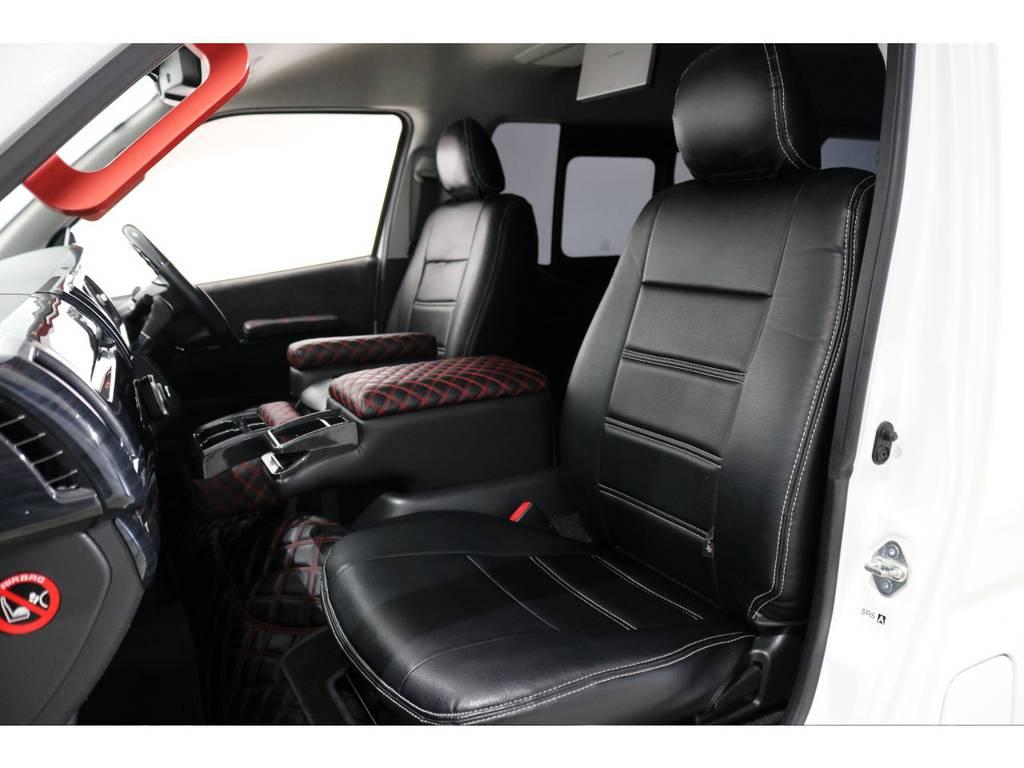 1・4列目はブラックレザー調シートカバー! | トヨタ ハイエース 2.7 GL ロング ミドルルーフ 4WD シートアレンジ