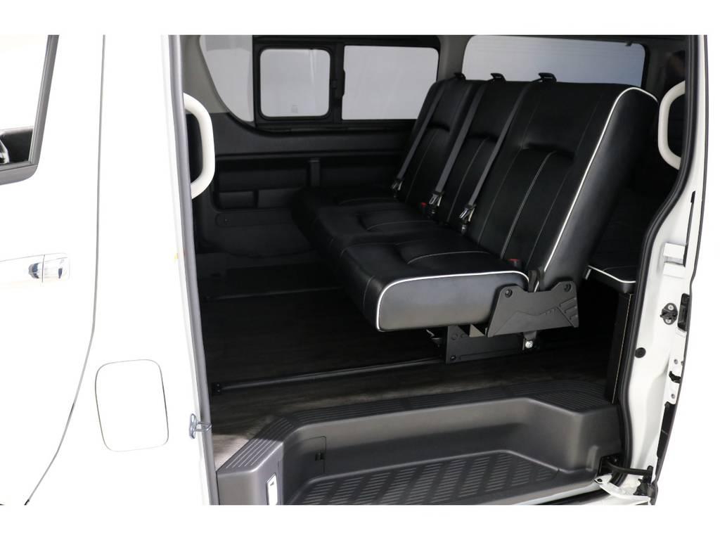 セカンドシートはバタフライシートに変更!ロングスライドレール搭載で足元も広々としてます! | トヨタ ハイエース 2.7 GL ロング ミドルルーフ 4WD シートアレンジ