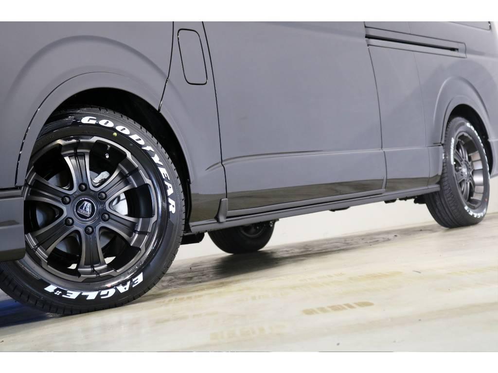 FLEX専用カラーのバルベロ17インチアルミホイール(ワイルドディープス)&グッドイヤー ナスカータイヤ!FLEXオリジナルオーバーフェンダーで車検対応!