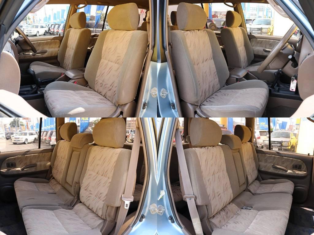 外装のブルーとのコントラストも綺麗なブラウンのシート★シミやキレ、ヘタリなども無く綺麗な状態です♪   トヨタ ランドクルーザープラド 3.0 TX ディーゼルターボ 4WD Renoca アメリカンクラシック