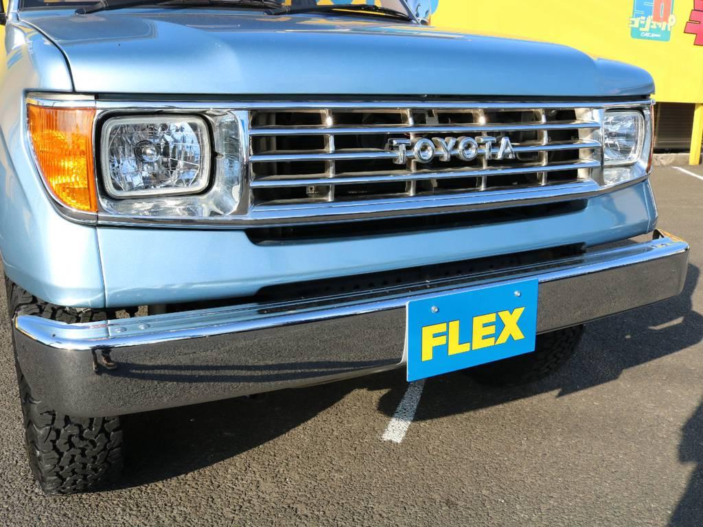 FLEXオリジナル78プラドフェイス換装♪メッキショートバンパーとの組み合わせもピッタリマッチしていますね★   トヨタ ランドクルーザープラド 3.0 TX ディーゼルターボ 4WD Renoca アメリカンクラシック