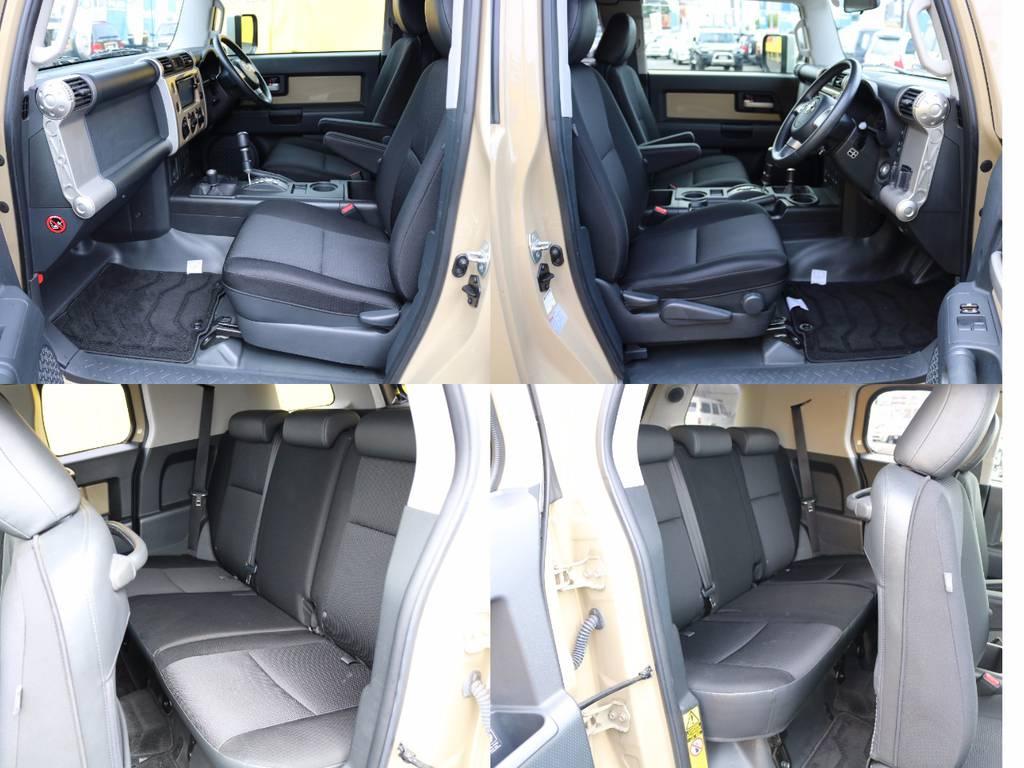 シートは全席に撥水・防水ファブリックシートを採用★撥水加工を施した着座面の裏側に、透湿性の防水フィルムを採用し、蒸れにくく、かつシート内部へ水の侵入を防止します★ | トヨタ FJクルーザー 4.0 カラーパッケージ 4WD 新品17AW&KO2 ルーフレール