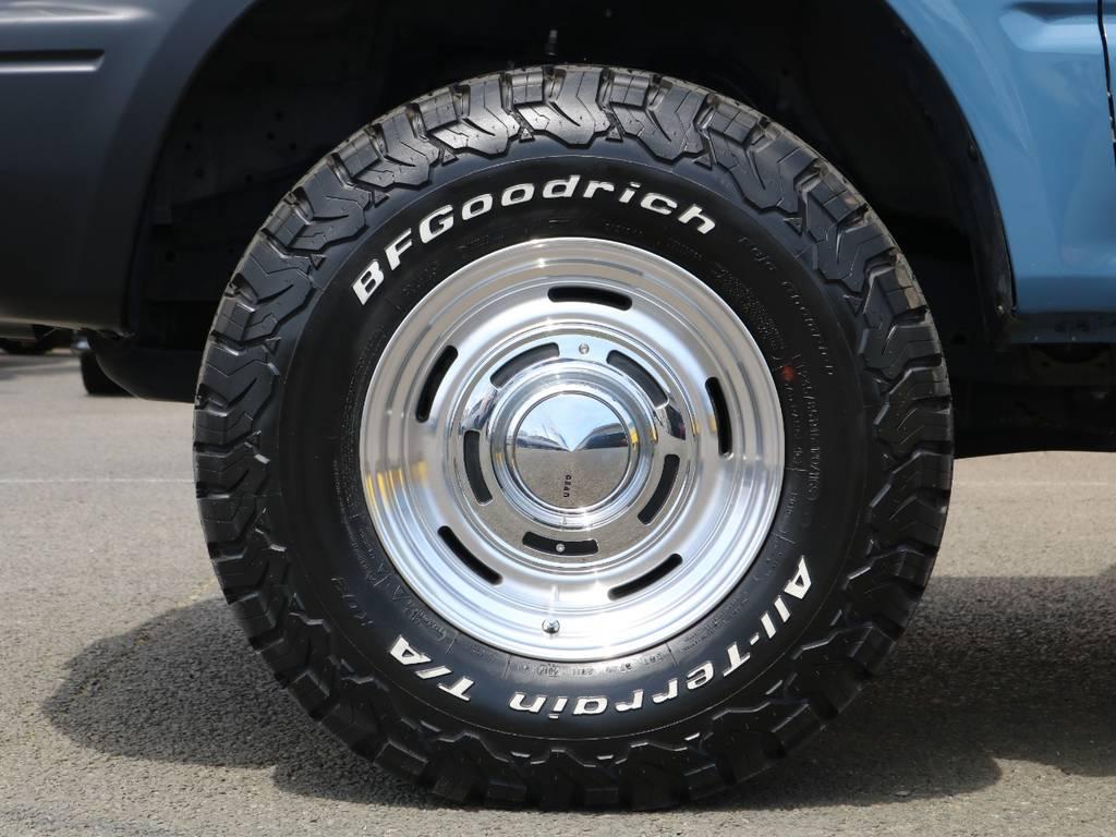新品BFグッドリッチA/TにDEANクロスカントリー16インチアルミホイールの組み合わせ♪もちろんお好みのタイヤホイールへの変更も可能ですので、お気軽にお問合せ下さい♪ | トヨタ ランドクルーザープラド 3.0 TZ ディーゼルターボ 4WD NEWアルルブルー 丸目&ナロー