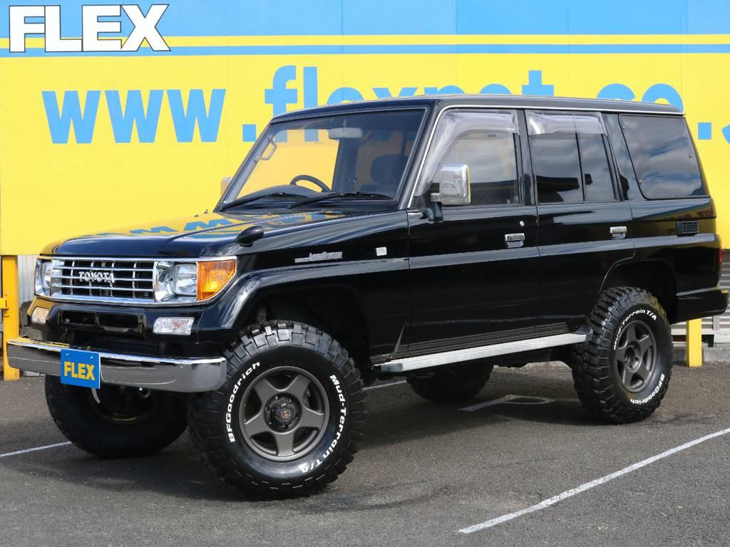 大人気の78プラド!ブラックカラー・ナローボディ換装と条件の揃った1台★カスタムも多いお薦めの1台ですのでお探しの方はお早めに♪ | トヨタ ランドクルーザープラド 3.0 SXワイド ディーゼルターボ 4WD ナロー換装 ブラV&KM2 2インチUP