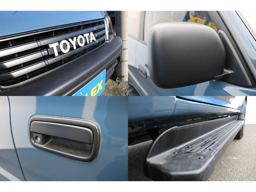フロントグリル、ドアミラー、ドアハンドル、サイドステップ、と各パーツをボディーカラーに合わせマットブラック塗装済み★とっても雰囲気あります♪