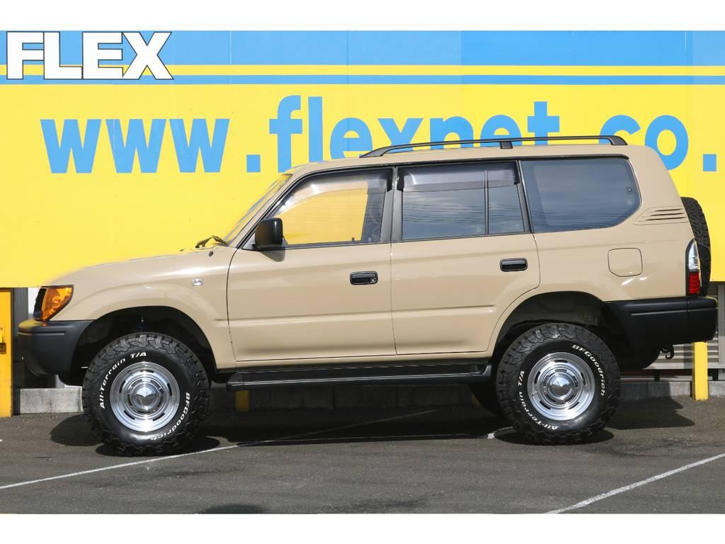 当店の在庫車は全て車輌検査専門会社である第三者機関(株)AIS、日本自動車鑑定協会(JAAA)にて1台1台、必ず二重の車輌チェックを実施しております。修復歴有りの車、事故車の無断販売はいたしません。 | トヨタ ランドクルーザープラド 2.7 TX リミテッド 4WD NEWベージュ 丸目&ナロー換装