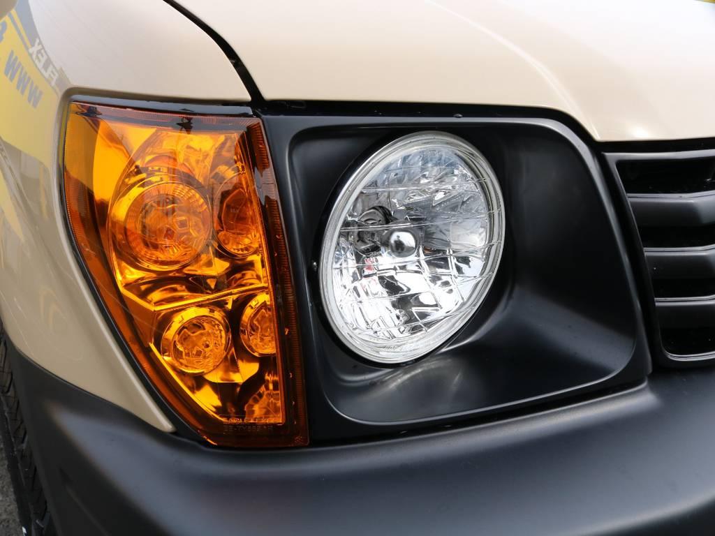 新品丸目ヘッドライト&オレンジコーナーレンズで交換でスッキリとリフレッシュ♪ | トヨタ ランドクルーザープラド 2.7 TX リミテッド 4WD NEWベージュ 丸目&ナロー換装