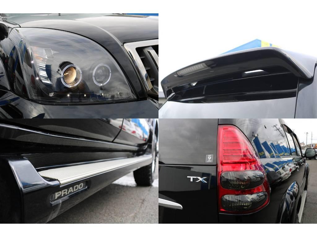 インナーブラックプロジェクターヘッドライトはブラックのボディに相性ピッタリ★また、夜間の点灯時もLEDリングが点灯し更に煌びやかになりますよ♪