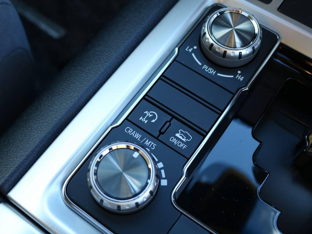 マルチテレインセレクト★4WD性能を最大限に高める最新システム。5つのモードから路面状況に応じて選択可能な最新テクノロジー♪ | トヨタ ランドクルーザー200 4.6 AX 4WD 現行型 ZX仕様 モデリスタエアロ