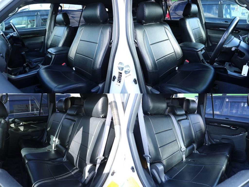 黒革調シートカバー付き★2列目は大人でもゆったりと座れるほどのスペースを確保しております!! | トヨタ ランドクルーザープラド 2.7 TXリミテッド 4WD オリジナル17AW&KO2 2インチUP