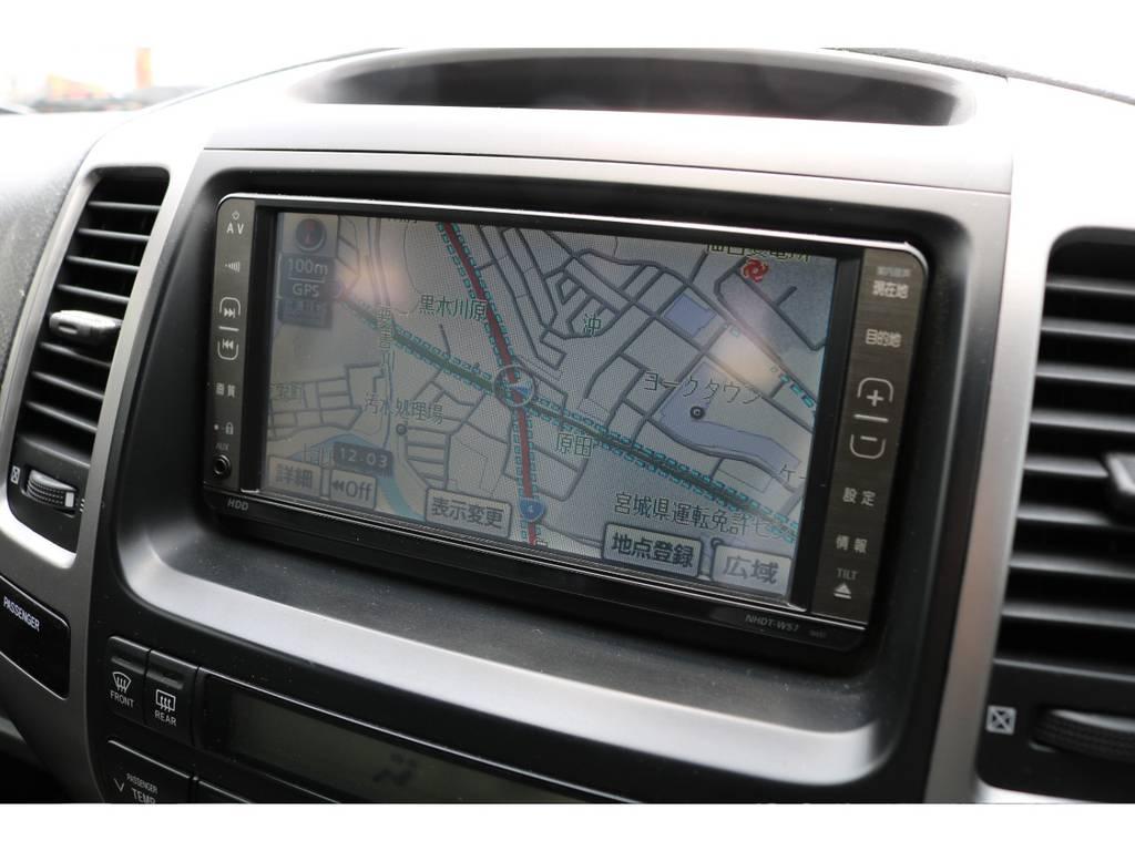 HDDナビも付いてますので、CDを読み込みすればお好みの曲をナビ本体にインストール可能です♪ | トヨタ ランドクルーザープラド 2.7 TXリミテッド 4WD オリジナル17AW&KO2 2インチUP