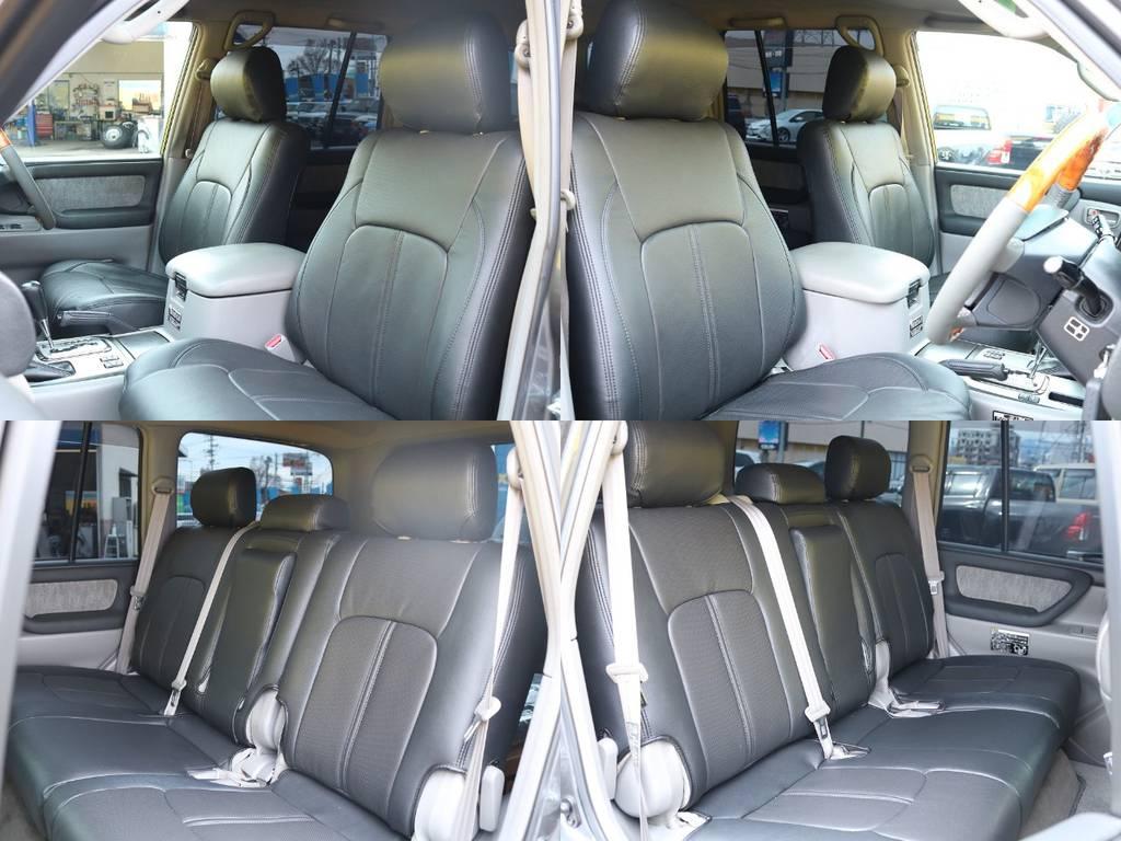 各シート★ブラックレザー調シートカバーで高級感を演出してくれます♪ | トヨタ ランドクルーザー100 4.7 VX 4WD マルチレス 5速AT 新品22インチAW