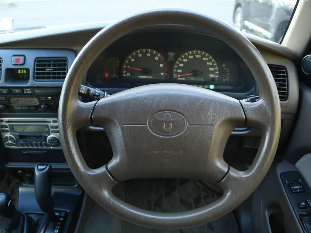 ステアリングもスレなど無くコンディション良好です♪エアバックも付いているのでもしもの時も安心です! | トヨタ ハイラックスサーフ 2.7 SSR-V 4WD 低走行9万km 新車ワンオーナー