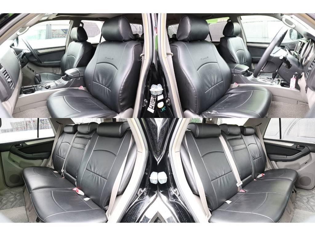 全席ブラックレザー調シートカバー装着済みです★ | トヨタ ハイラックスサーフ 2.7 SSR-X 4WD MGモンスター17AW&KO2 2UP