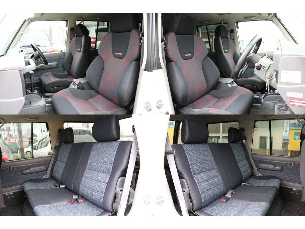 レッド×ブラックの落ち着いたカラーのレカロシートが目を引くフロントシート★長距離運転をすると、純正シートと比べ疲労感が全然違います!ぜひ実際に試してみてください♪