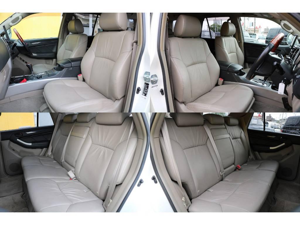 高級感溢れるベージュ本革シート★コゲ穴やヤブレも無くコンディション良好です!ぜひ一度座ってみてください!滑らかな肌触りで気持ちが良いですよ♪ | トヨタ ハイラックスサーフ 2.7 SSR-G 4WD MGヴァンパイア17AW&KO2 2UP