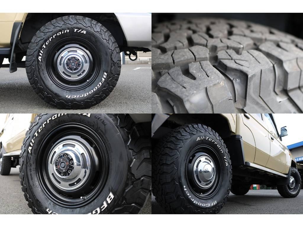 CRIMSON DEAN 16inchアルミホイール&BFグッドリッチ235KO2の組み合わせ★ベージュのボディーカラーにとても似合ってます♪ | トヨタ ランドクルーザー70 4.0 4WD 買取直販 ワンオーナー デフロック
