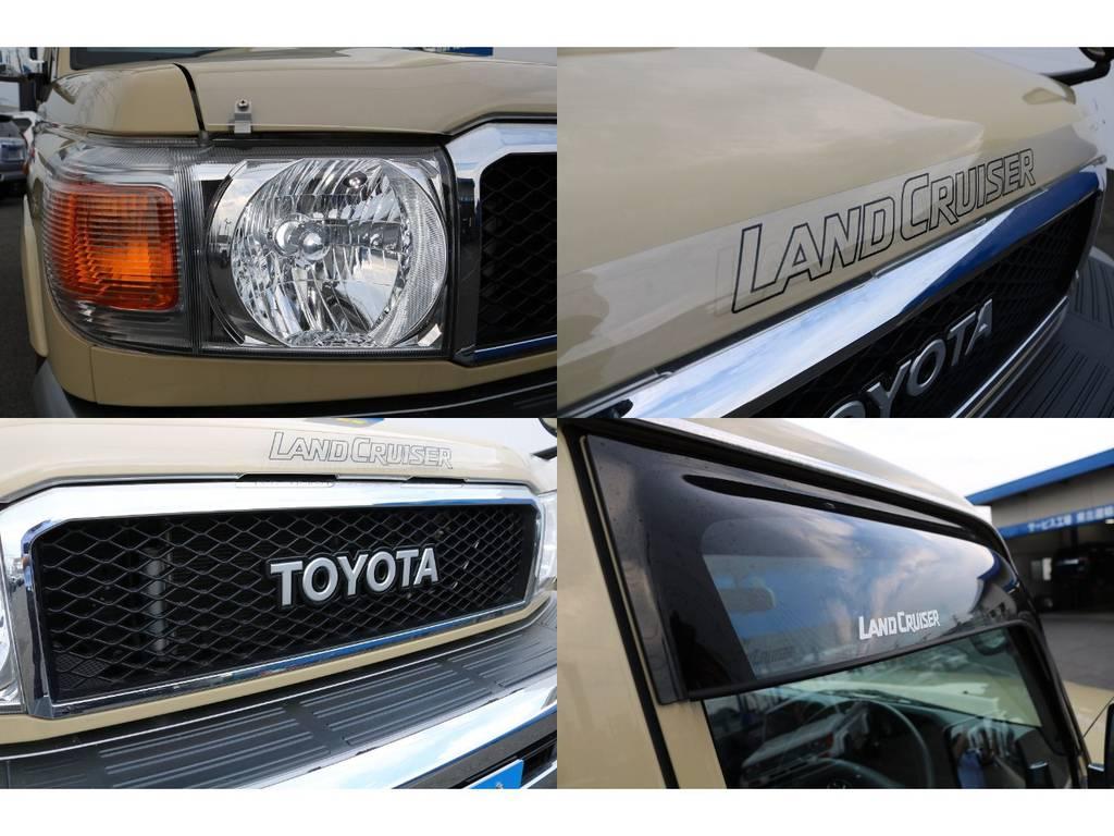 モデリスタフロントグリル、ドアバイザー、バグガードも付いてます★ヘッドライトはお好みで、LEDバルブの換装なども承りますのでお気軽にご相談ください♪ | トヨタ ランドクルーザー70 4.0 4WD 買取直販 ワンオーナー デフロック