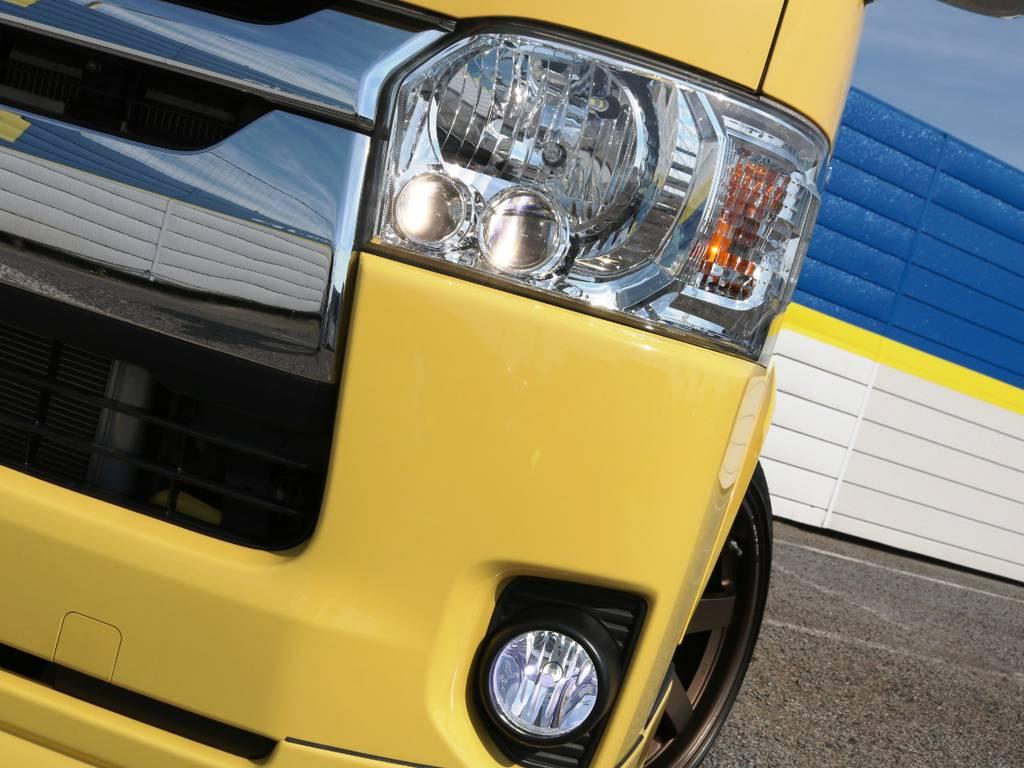 メーカーオプション LEDヘッドライト!FLEXオリジナルLEDフォグランプも装備!