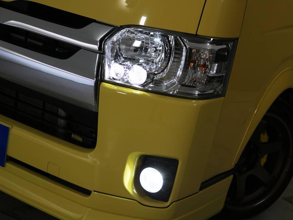 メーカーオプション LEDヘッドランプ+FLEXオリジナルLEDフォグランプ! | トヨタ ハイエースバン 2.0 スーパーGL ロング 特設カラー イエロー 千葉北店元試乗車