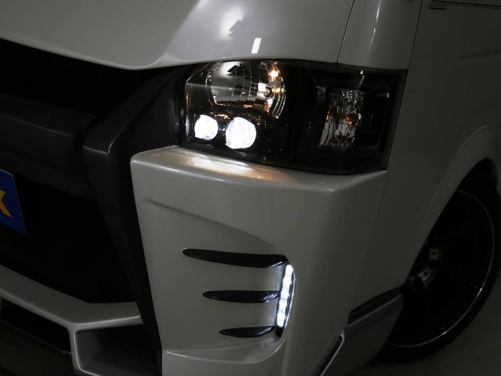 4型純正LEDヘッドライト インナーブラック加工! | トヨタ ハイエースバン 2.0 スーパーGL ロング 3型 フルエアロ