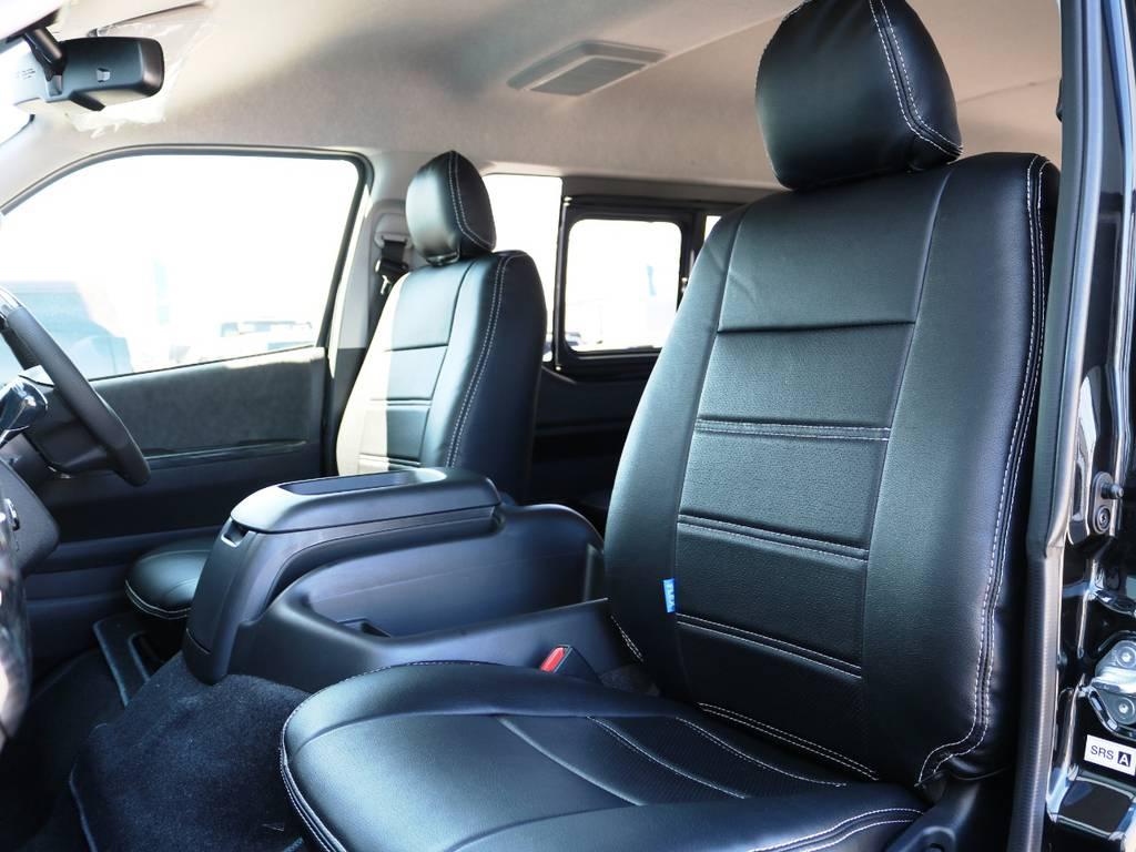 全席黒革調シートカバー♪ | トヨタ ハイエース 2.7 GL ロング ミドルルーフ 4WD TSSP付 スタンダードパッケージ