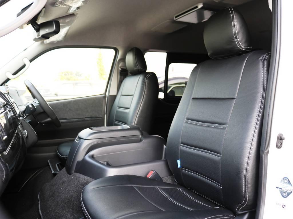 黒革調シートカバー装着済み! | トヨタ ハイエース 2.7 GL ロング ミドルルーフ TSS付 内装ラウンジ5α