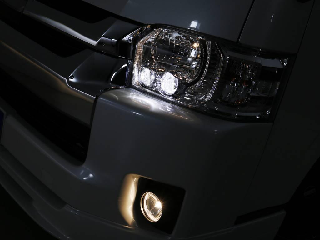 メーカーオプション LEDヘッドライト♪ | トヨタ ハイエース 2.7 GL ロング ミドルルーフ TSS付 内装ラウンジ5α
