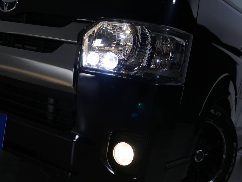 ダークプライム専用装備 クリアスモークLEDヘッドライト! | トヨタ ハイエースバン 2.0 スーパーGL ダークプライム ロングボディ 内外装ライトカスタム