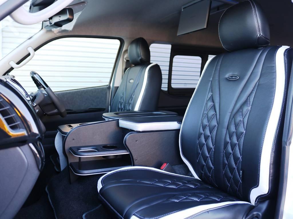 全席FLEXオリジナル ダイヤキルトシートカバー装着済み♪ | トヨタ ハイエース 2.7 GL ロング ミドルルーフ ヴォーグW4 フルエアロ