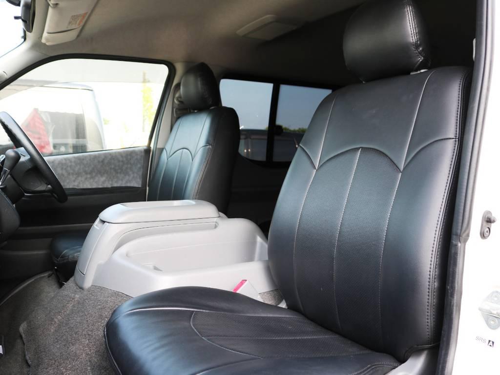 全席黒革調シートカバー! | トヨタ ハイエース 2.7 GL ロング ミドルルーフ 2型 Joker フルエアロ