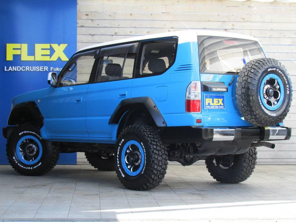 背面タイヤも贅沢に新品デーモンをインストール! | トヨタ ランドクルーザープラド 3.0 TX ディーゼルターボ 4WD COLORBOMB