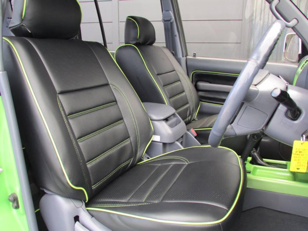 新品シートカバーも専用設計で外装色に合わせたステッチが入っています! | トヨタ ランドクルーザープラド 3.0 TZ ディーゼルターボ 4WD COLORBOMB