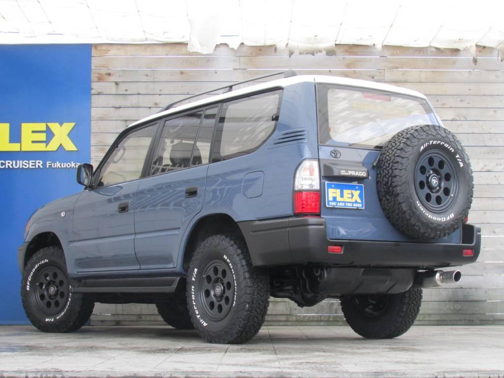 背面タイヤホイールも足元と統一!! | トヨタ ランドクルーザープラド 3.0 TZ ディーゼルターボ 4WD カスタム