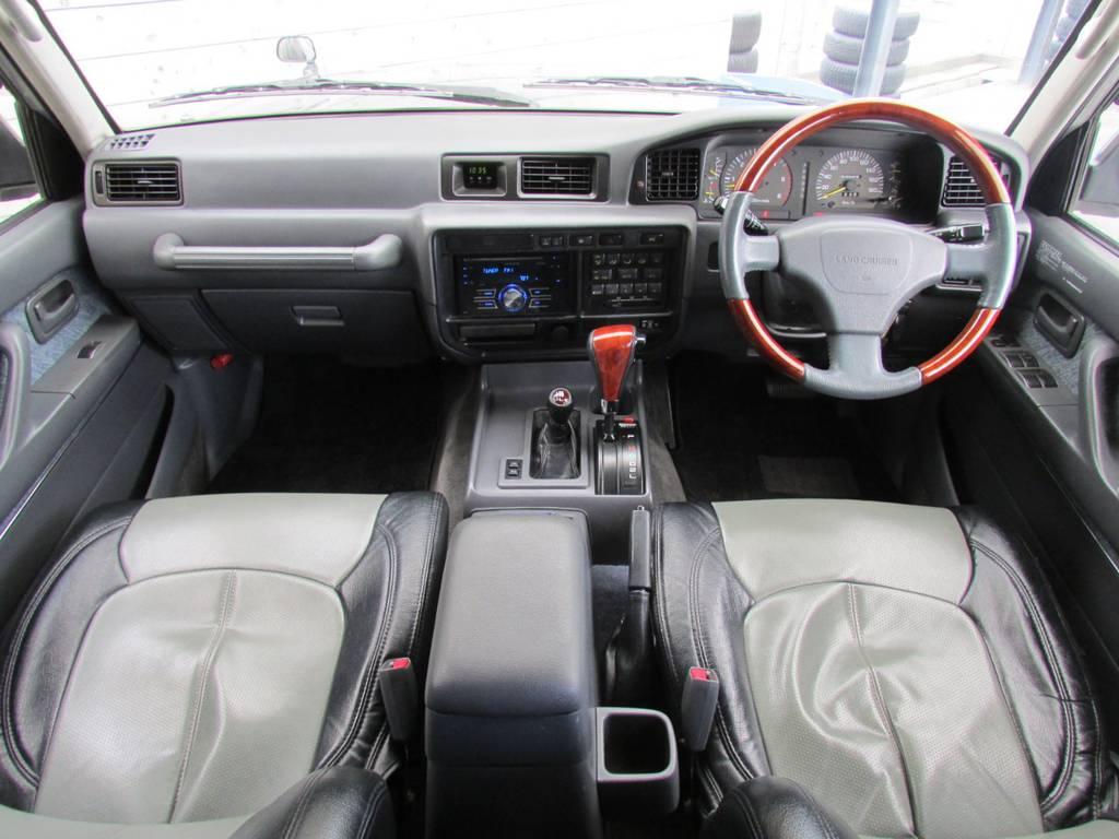 木目調コンビステアリング&ATシフトノブも装備♪   トヨタ ランドクルーザー80 4.2 VX ディーゼル 4WD カスタム