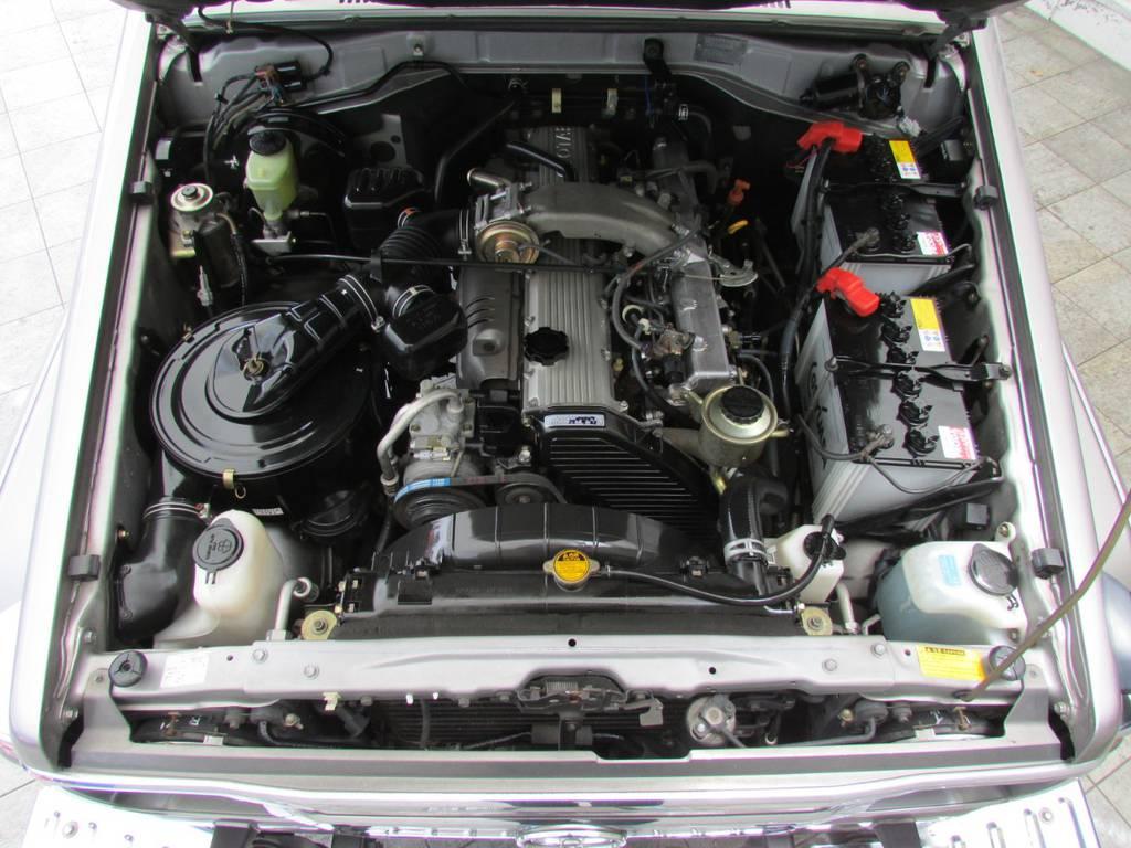 エンジンルームもGOODコンディション! | トヨタ ランドクルーザー70 4.2 ZX ディーゼル 4WD FRPトップ