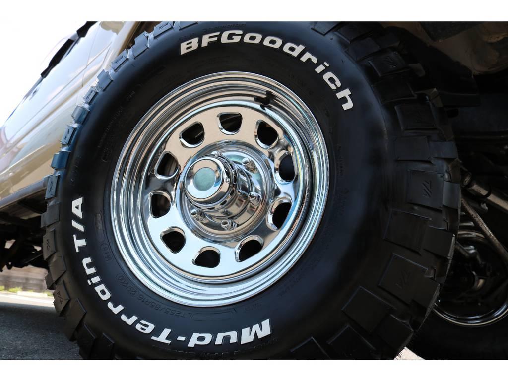 社外16インチホイールに、BFグッドリッチ255MTの足元!雰囲気があって、クラシカルさが出ます! | トヨタ ランドクルーザー80 4.5 VXリミテッド 4WD