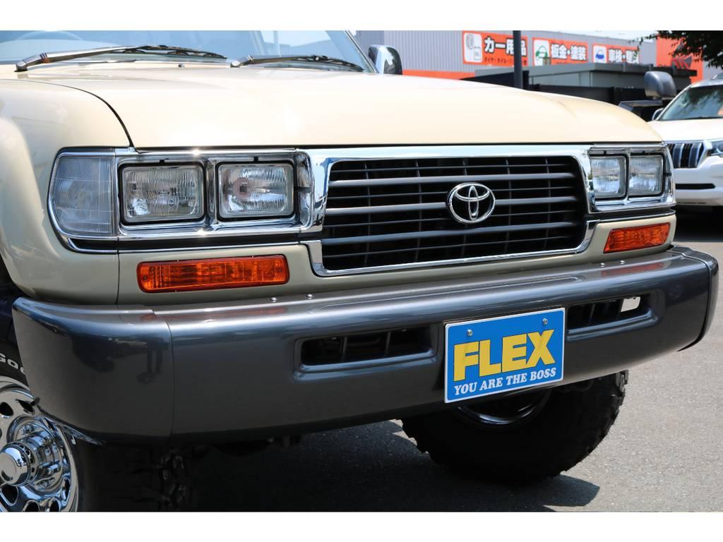 角目4灯ヘッドランプに、コーナーレンズ、ウインカーの変更でフロントまわりの印象が大分変わりますね! | トヨタ ランドクルーザー80 4.5 VXリミテッド 4WD