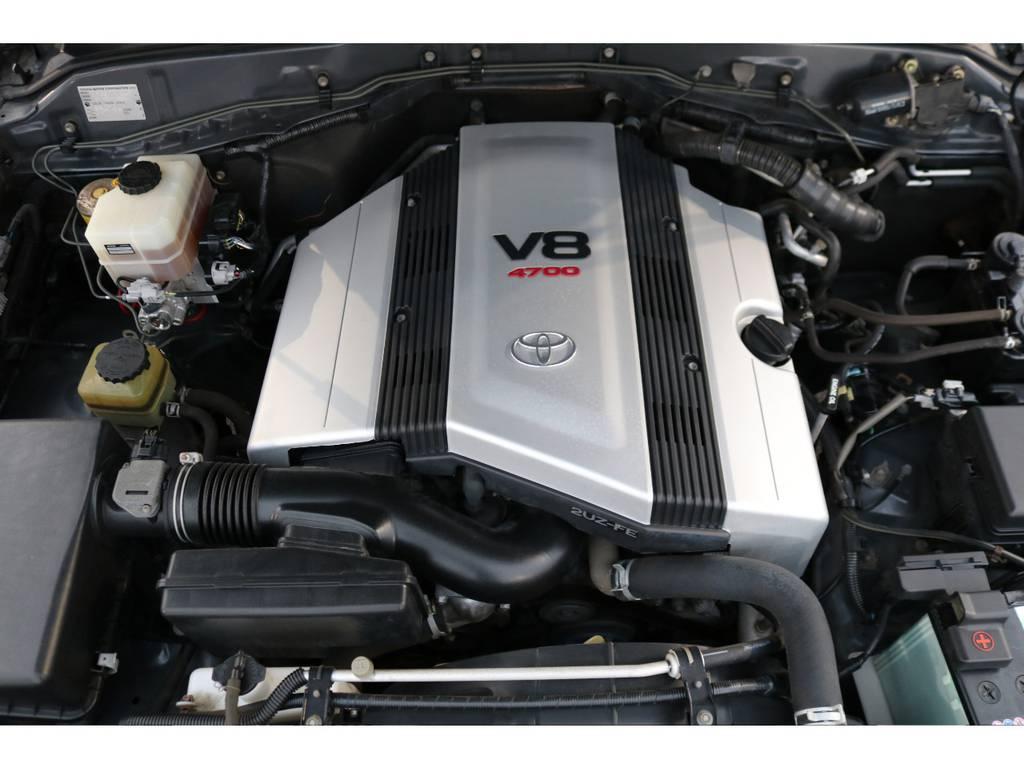 V8エンジンのガソリン2UZ-FEエンジン!パワー不足を感じさせません!