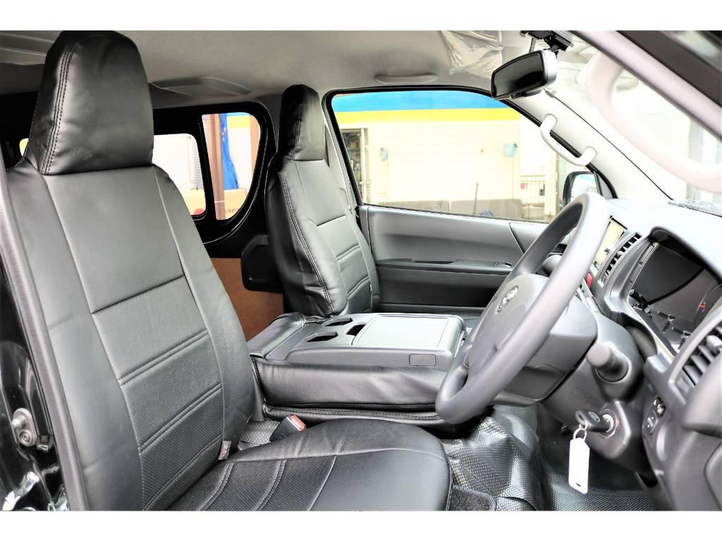 黒革調シートカバー装着済みです!高級感のある仕様となっております! | トヨタ ハイエースバン 2.0 DX ロング GLパッケージ S-GL 2ndシート