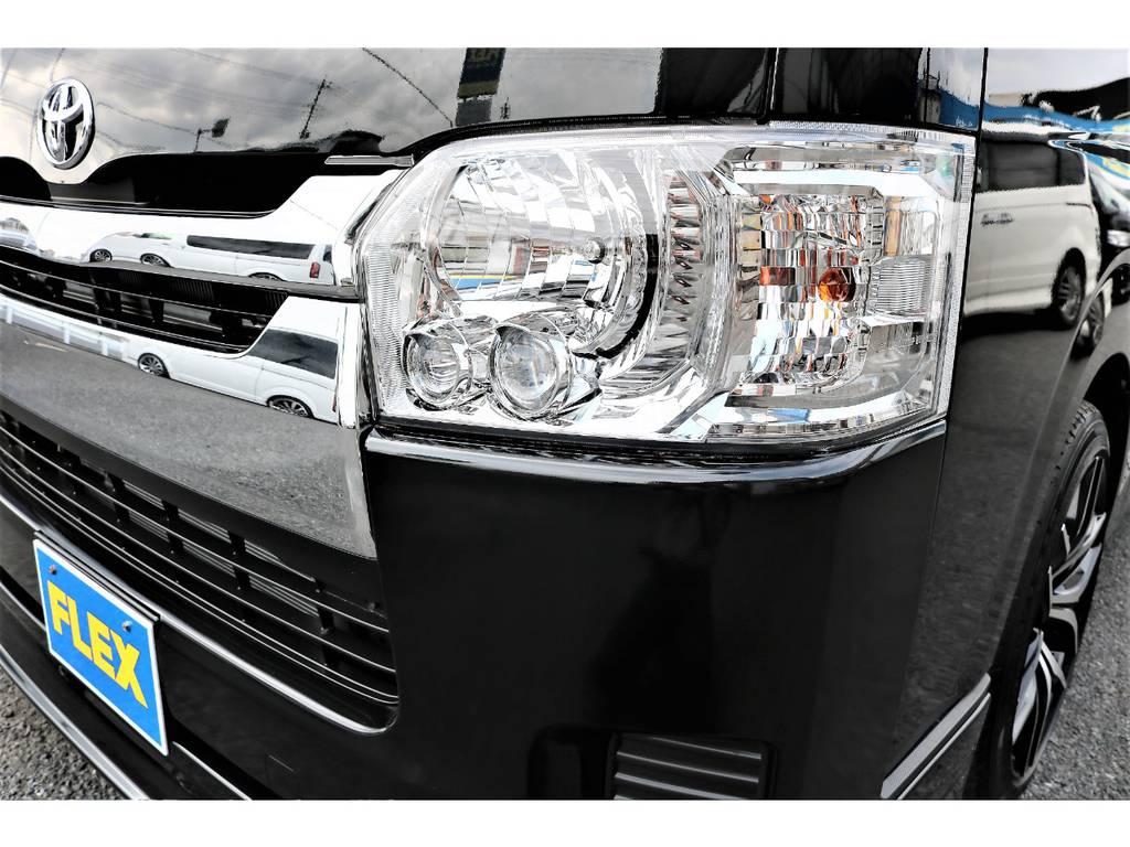 人気メーカーオプションのLEDヘッドライト付きです! | トヨタ ハイエースバン 2.0 DX ロング GLパッケージ S-GL 2ndシート